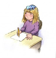 Девочка пишет письмо (рисунок carolkoala)