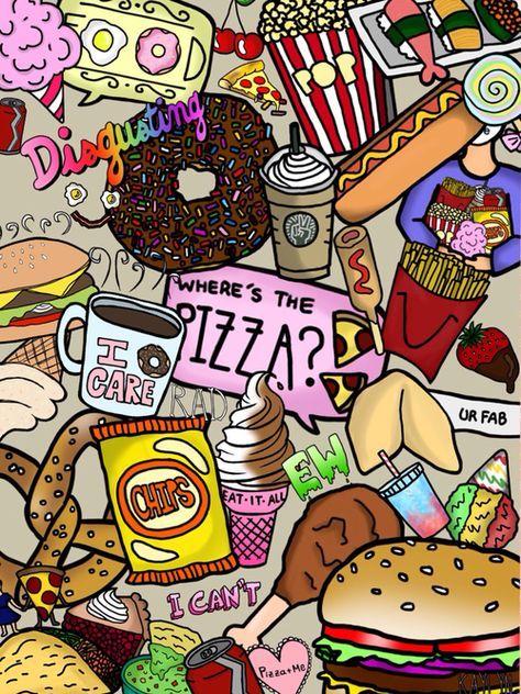 Открытка, открытки в стиле тумблер с едой